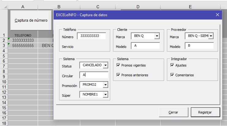 Ejemplo de formulario de captura en Excel