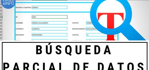 Formulario de búsqueda parcial de datos usando BUSCARV y comodines en Excel