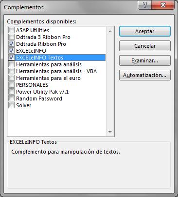 Instalar complementos en Excel