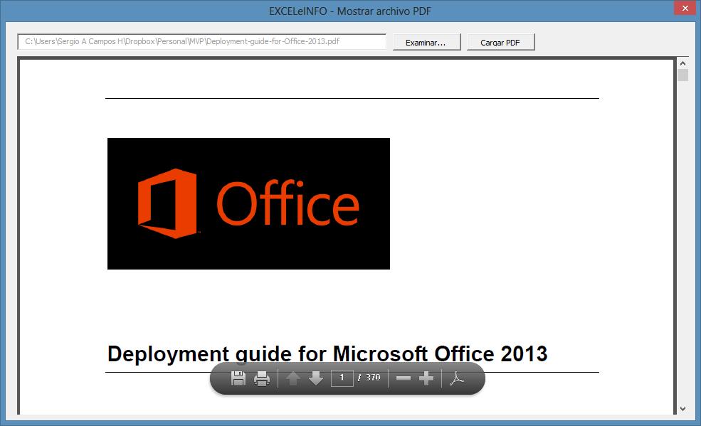 Mostrar PDF en formulario de Excel vba