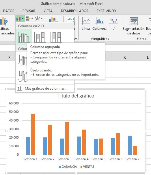 Crear gráfico combinado paso a paso en Excel – EXCELeINFO