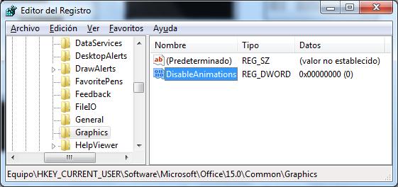 Regedit para desactivar animaciones de Office 2013