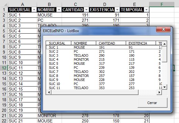 Tabla de Excel en ListBox