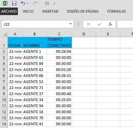 Cálculos de horas en Excel