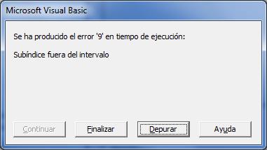 Manejar errores en Excel vba