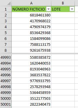 Separa lotes en Excel