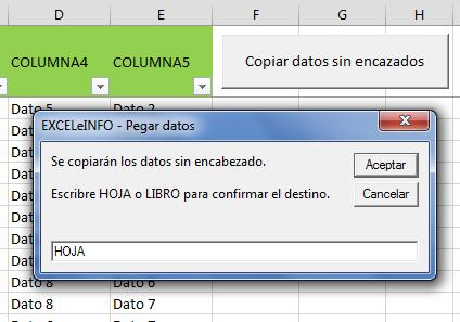 Copiar datos de tabla sin encabezados en Excel