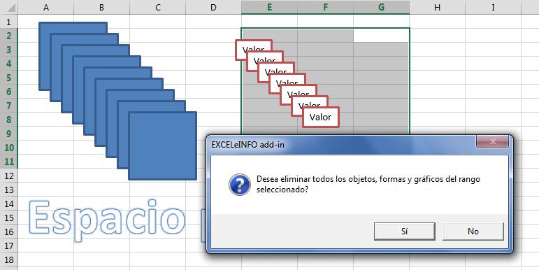 Eliminar obbjetos del rango seleccionado en Excel