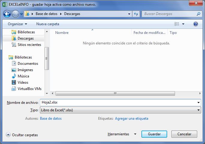 Guardar hoja activa como archivo nuevo en Excel