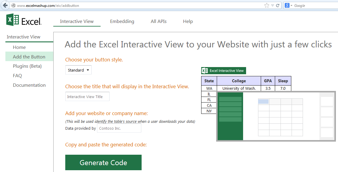 Interactive Vew Excel mashup