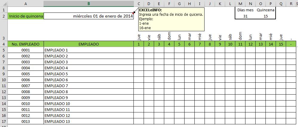 Nómina quincenal en Excel
