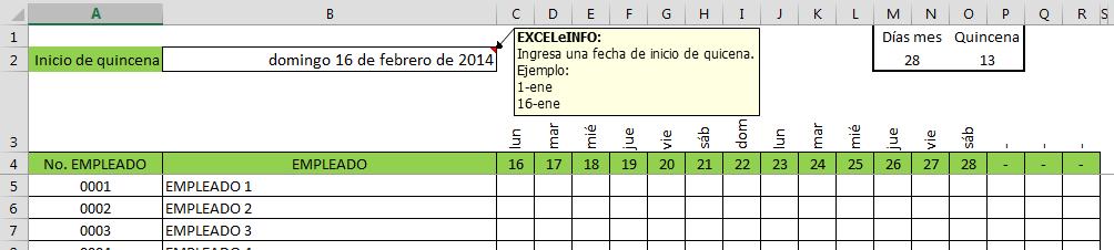 Segunda quincena de febrero con menos de 15 días en Excel