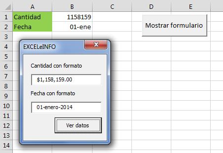 Usando Format en Excel vba
