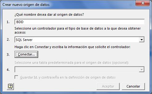 Crear nuevo origen de datos en Excel