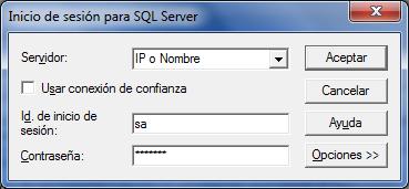 Datos de acceso al server de SQL