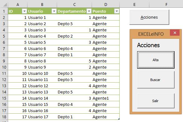 Acciones de alta y búsqueda en Excel