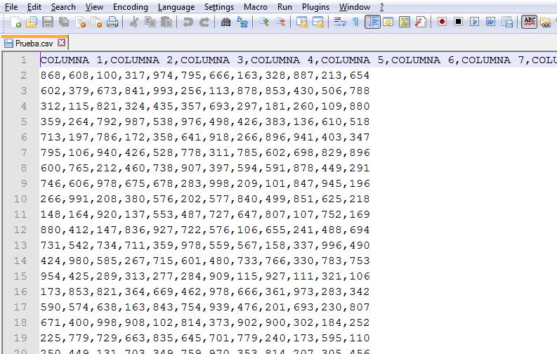 Archivo CSV separado por comas