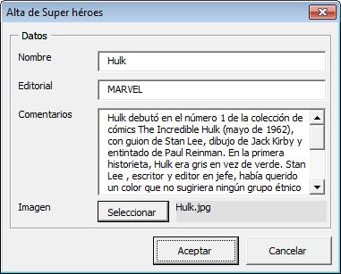 Alta de registros en Excel con imagen