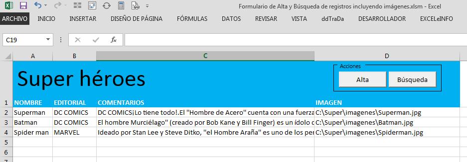 Base de datos en Excel con imágenes