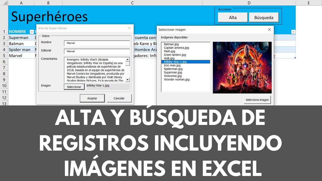 Formularios de Alta y Búsqueda de registros incluyendo imágenes en Excel usando VBA y macros