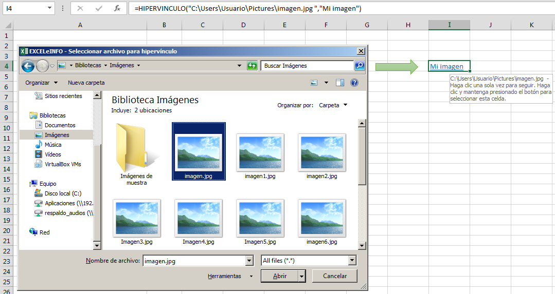 Insertar hipervínculo en Excel
