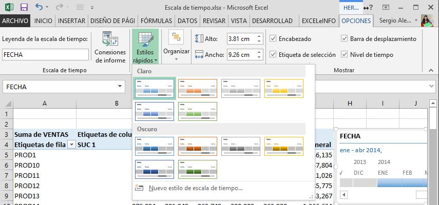 Opciones de escala de tiempo en Excel