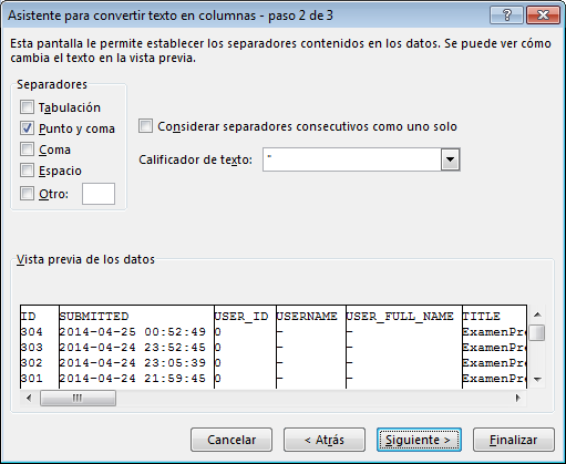 Elegir separador para texto en columnas en Excel