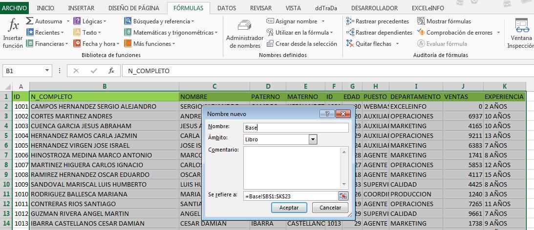 Asignar nombre a rango en Excel