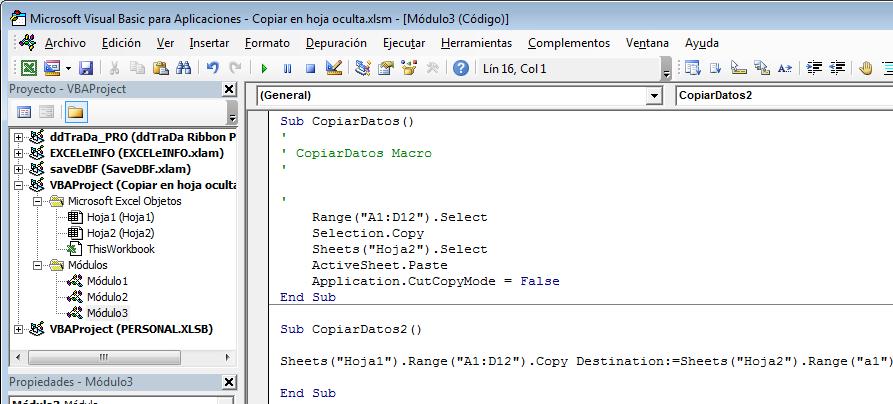 Macro Excel copiar