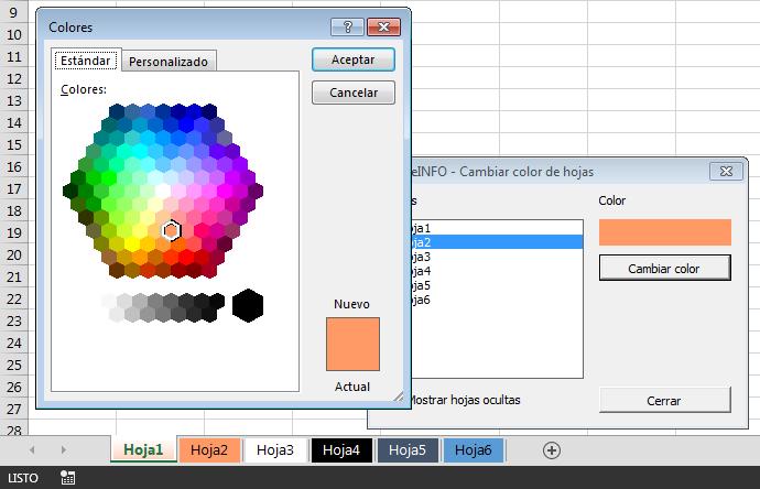 Formulario en Excel vba para cambiar color a las etiquetas de las hojas