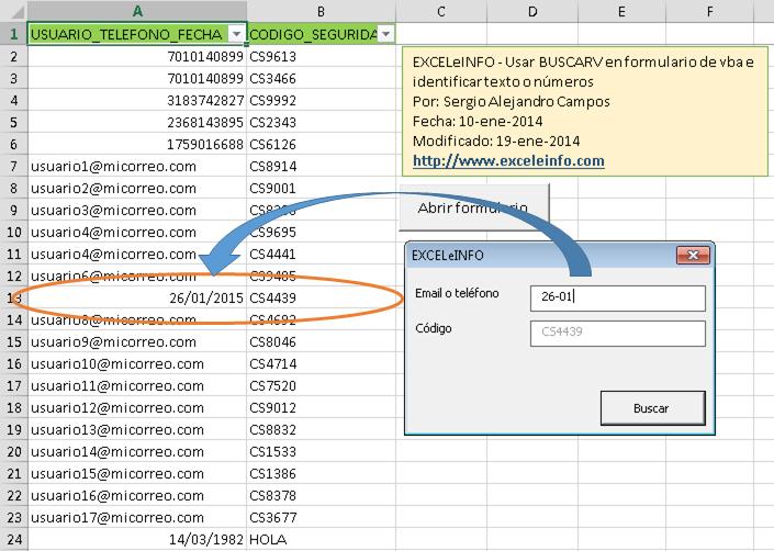 Formulario de Buscarv con Excel vba identificando números, letras y fechas