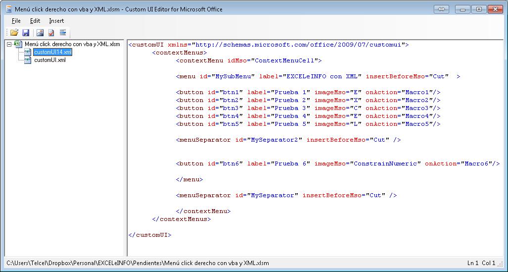 Personalizar menú de click derecho sobre las celdas en Excel con XML y vba
