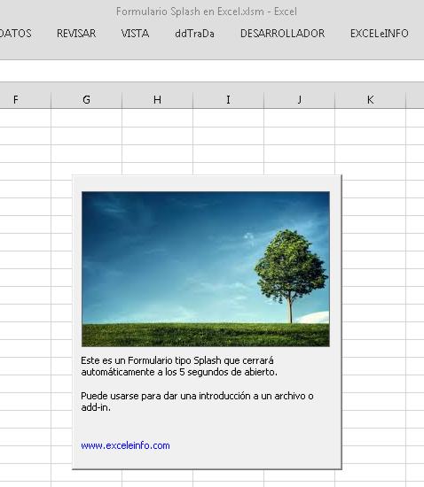 Crear un formulario de introducción o Splash en Excel vba quitando la barra de título