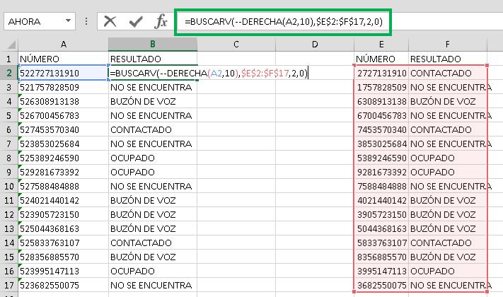 Combinar doble signo negativo y BUSCARV en Excel