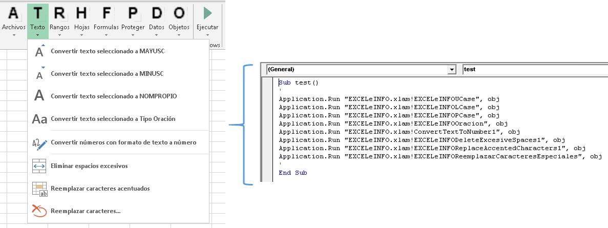 Ejecutar las herramientas de EXCELeINFO add-in desde tus propias macros