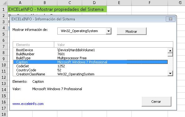 Mostrar información del Sistema con macros en Excel