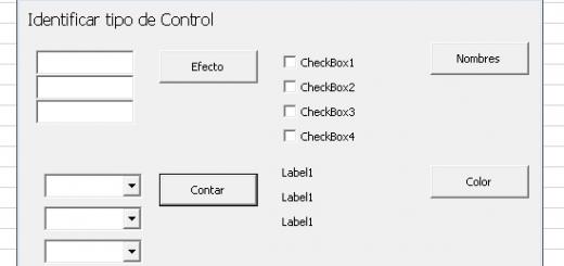 Identificar los tipos de controles que tenemos en un Formulario de Excel vba