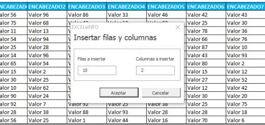 Insertar 'n' cantidad de filas y columnas con Formulario y Macros en Excel