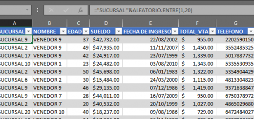 Generar datos de prueba con ALEATORIO.ENTRE en Excel