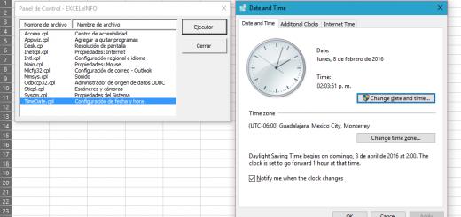 Uso de ListBox - ejecutar opciones del Panel de Control con macros en Excel