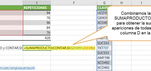 Usar un rango de celdas como criterio para CONTAR.SI, combinado con SUMAPRODUCTO en Excel