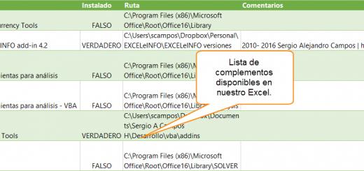 Macro para mostrar los complementos (addins) de Excel y sus características