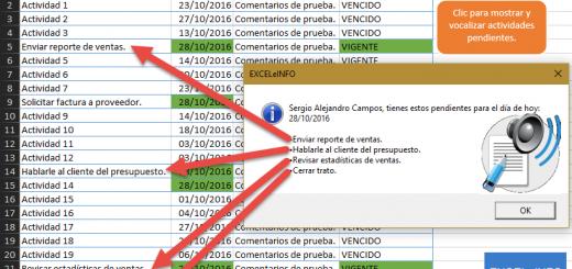 Mostrar y vocalizar actividades pendientes en Excel @EXCELeINFO