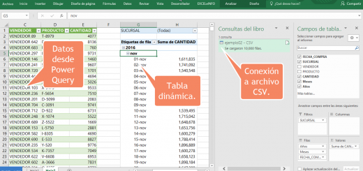 Aprendamos Power Query para Excel – Aplicar pasos guardados y Tablas dinámicas – 3