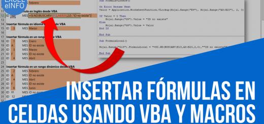 Insertar Fórmulas y funciones en celdas de Excel usando VBA y macros