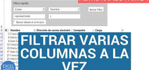 Filtrar varias columnas a la vez – Filtro rápido en Excel – Parte 4