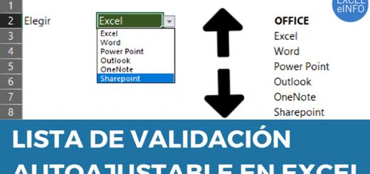 Lista de validación de datos en Excel que detecta nuevos elementos automáticamente