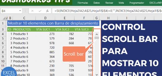 Mostrar 10 elementos con Barra de desplazamiento o Scroll bar - Dashboards Tips
