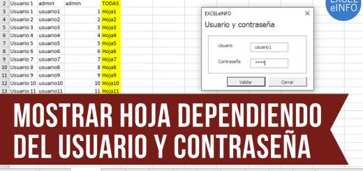 Mostrar hoja dependiendo del usuario y contraseña ingresados en un Formulario de Excel vba