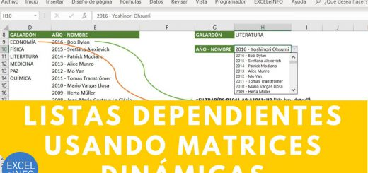 Listas de validación dependientes - Funciones de Matrices Dinámicas en Excel